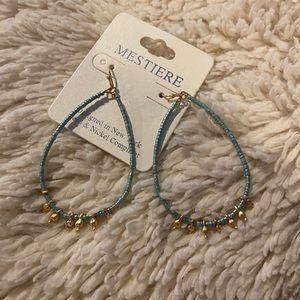 Mestiere Beaded Hoop Earrings Blue NWT